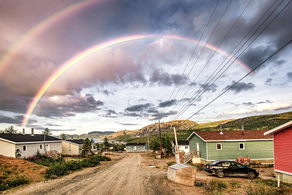Rainbow at Nain, Nunatsiavut, Newfoundland and Labrador.