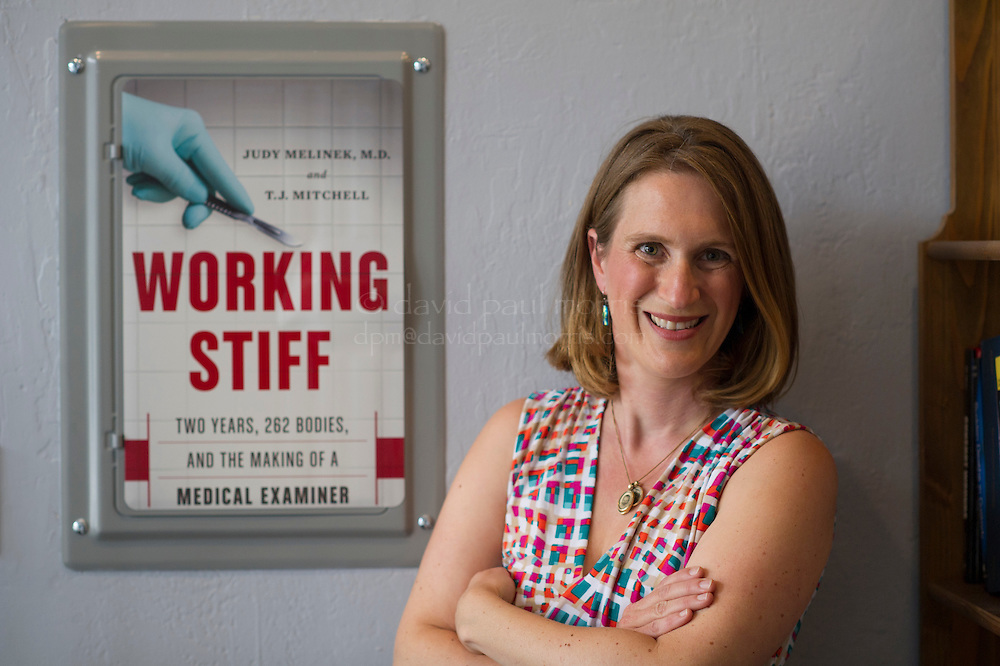 Judy Melinek, M.D. is photographed in her office in San Francisco, California on Thursday, July 31, 2014. Photograph by David Paul Morris