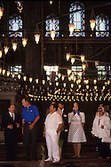 President HW Bush (bush 41) and First Lady Barbara Bush tour the Blue Mosque in Istabul Turkey in July 1991..Photograph by Dennis Brack