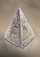 """Ancient Egyptian Pyramidion of Ramose North & East sides, Limestone, New Kingdom, 19th Dtnasty (1292-1190 BC), Dier el-Medina. Egyptian Museum, Turin. Old Fund cat 1603. <br /> <br /> The north face of the Ramose Pyramidion explains the attribute of Horus as the strong coronal electric field of the Sun gifting the Ankh as a support to Life. It reads """"Strong coronal electric field supporting the Sun, negative charge induction."""""""" Weak electric field is an attribute of the anode Sun.""""""""Electricity supporting life to core charge store God"""".<br /> <br /> The east face of the Ramose Pyramidion shows the support for the structured plasma, her hands are held up representing the electric force on the perpendicular face to the North South axis of Horus, the strong coronal electric field. It reads"""" Structured plasma watched, attribute supporting life projecting power (negative charge) to support charge store (celestial body) electrostatic resonance."""""""" Seek home structured plasma to land negative charge projection by God as lightning attribute support celestial body via connection giving movement and [light].""""<br /> <br /> The limestone Pyramidion of Ramose, from the top of the tomb of the 'Necropolis Scribe'. Scenes on all four sides depict the worship of the sun. .<br /> <br /> If you prefer to buy from our ALAMY PHOTO LIBRARY  Collection visit : https://www.alamy.com/portfolio/paul-williams-funkystock/ancient-egyptian-art-artefacts.html  . Type -   Turin   - into the LOWER SEARCH WITHIN GALLERY box. Refine search by adding background colour, subject etc<br /> <br /> Visit our ANCIENT WORLD PHOTO COLLECTIONS for more photos to download or buy as wall art prints https://funkystock.photoshelter.com/gallery-collection/Ancient-World-Art-Antiquities-Historic-Sites-Pictures-Images-of/C00006u26yqSkDOM"""