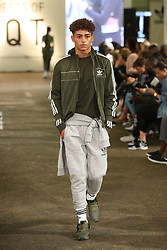 A model on the runway during 'Streets of EQT', a street style presentation to celebrate Hailey Baldwin's new Adidas EQT campaign during London Fashion Week SS18 held at The Old Truman Brewery, London. Picture Date: Friday 15 September. Photo credit should read: Isabel Infantes/PA Wire