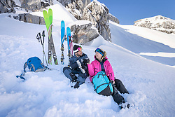 Skier couple on a hot tea break, Bavaria, Germany, Europe