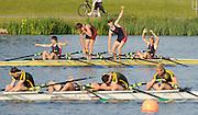Eton,  GREAT BRITAIN. Championship Boy's Quadruple scull, Sir William Borlase's School, celebrate after winning the final. Eton Schools' Regatta, Eton Rowing Centre, Dorney Lake. [Finish of cancelled National Schools Regatta], Saturday, 07/06/2008  [Mandatory Credit:  Peter SPURRIER / Intersport Images].Crew,  J.CLEGG, L.CLEGG, T. WRIGHT, M. BEDFORD. Rowing Courses, Dorney Lake, Eton. ENGLAND
