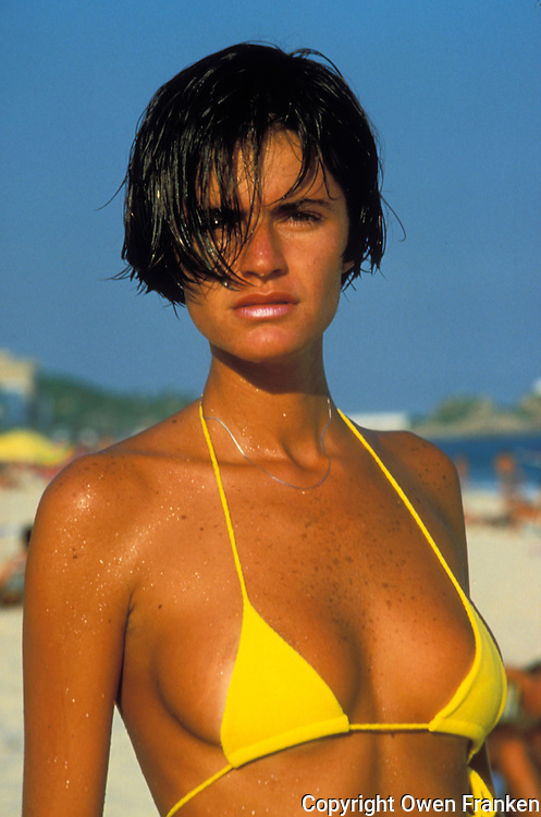 Beautiful woman on Ipanema Beach, Rio de Janiero - photograph by Owen Franken
