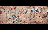 Ancient Egyptian Book of the Dead papyrus - Aaner Book of the Dead, Thebes - 21st Dynasty (1076-943C).Turin Egyptian Museum. Black background<br /> <br /> During the 21st Dynasty the number of spells in Books of the Dead was often reduced in favour of decrative panels. small illustrated vignettes take up a large part of the papytus surface .<br /> <br /> If you prefer to buy from our ALAMY PHOTO LIBRARY  Collection visit : https://www.alamy.com/portfolio/paul-williams-funkystock/ancient-egyptian-art-artefacts.html  . Type -   Turin   - into the LOWER SEARCH WITHIN GALLERY box. Refine search by adding background colour, subject etc<br /> <br /> Visit our ANCIENT WORLD PHOTO COLLECTIONS for more photos to download or buy as wall art prints https://funkystock.photoshelter.com/gallery-collection/Ancient-World-Art-Antiquities-Historic-Sites-Pictures-Images-of/C00006u26yqSkDOM
