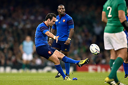 Morgan Parra of France kicks for the posts - Mandatory byline: Patrick Khachfe/JMP - 07966 386802 - 11/10/2015 - RUGBY UNION - Millennium Stadium - Cardiff, Wales - France v Ireland - Rugby World Cup 2015 Pool D.
