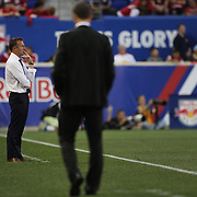 Jason Kreis, NYCFC Coach, on the sideline during the New York Red Bulls Vs NYCFC, MLS regular season match at Red Bull Arena, Harrison, New Jersey. USA. 10th May 2015. Photo Tim Clayton