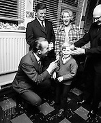 Comedian Jack Cruise with Brendan Coyne, (aged 5) a pupil of St Joseph's School for the Deaf, Dublin. Cruise presented tickets for his Christmas pantomime at the Olympia to all those who took part in a charity walk to raise funds for the school.19/11/1972