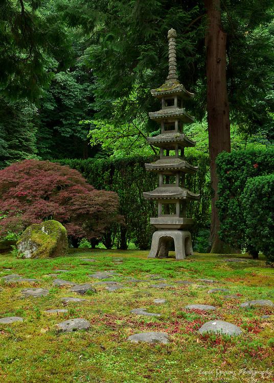 A stone pagoda in the Portland Japanese Gardens, Porland, Oregon