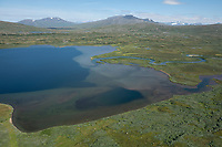 Aerial view over mountain lakes in landscape of Padjelanta national park, Lapland, Sweden