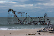 Seaside Heights, November 2, 2012,  A roller coaster from the Seaside Heights Amusement Park stands in the Atlantic Ocean after Hurricane Sandy destroyed the Seaside Heights boardwalk where it stood.