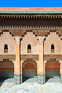 Berber arabesque Morcabe plasterwork of the 14th century Ben Youssef Madersa (Islamic college) re-constructed by the Saadian Sultan Abdallah al-Ghalib in 1564 as the largest and most prestigious Medersa in Morocco. Marrakesh, Morroco .<br /> <br /> Visit our MOROCCO HISTORIC PLAXES PHOTO COLLECTIONS for more   photos  to download or buy as prints https://funkystock.photoshelter.com/gallery-collection/Morocco-Pictures-Photos-and-Images/C0000ds6t1_cvhPo<br /> .<br /> <br /> Visit our ISLAMIC HISTORICAL PLACES PHOTO COLLECTIONS for more photos to download or buy as wall art prints https://funkystock.photoshelter.com/gallery-collection/Islam-Islamic-Historic-Places-Architecture-Pictures-Images-of/C0000n7SGOHt9XWI