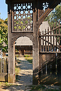 Carved gate to Eastern Transylvanian wooden vernacular house Bancu, Harghita, Built: 1862. Dimitrie Gusti National Village Museum (Muzeul Satului) in Bucharest, Romania