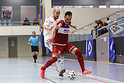 Futsal: 1. Bundesliga, HSV-Panthers - Stuttgart Futsal Club, Hamburg, 11.09.2021<br /> Michael Meyer (Panthers, l.) - Sasa Babic (Stuttgart)<br /> © Torsten Helmke