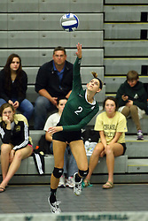 28 October 2016:  Kyleigh Block during an NCAA womens division 3 Volleyball match between the DePauw Tigers and the Illinois Wesleyan Titans in Shirk Center, Bloomington IL