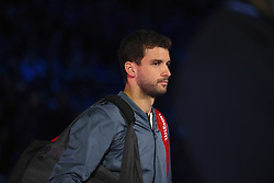November 18, 2017 - London, England, United Kingdom - Bulgaria's Grigor Dimitrov arrives to play US player Jack Sock in their men's singles semi-final match on day seven of the ATP World Tour Finals tennis tournament at the O2 Arena in London on November 18, 2017. (Credit Image: © Alberto Pezzali/NurPhoto via ZUMA Press)