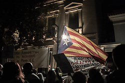October 3, 2017 - Athens, Greece - Protest in Athens outside Embassy of Spain in solidarity with the Catalan people. (Credit Image: © Dimitris Lampropoulos/NurPhoto via ZUMA Press)