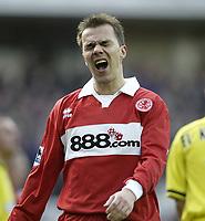 Photo Aidan Ellis.<br /> Middlesbrough v Charlton Athletic.<br /> FA Barclays Premiership.<br /> 27/02/2005.<br /> Boro's Szilard Nemeth cant believe he has missed a chance to score