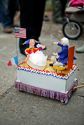 30 January 2016. New Orleans, Louisiana.<br /> The mico-Krewe of 'Tit Rex' parades through the Bywater and Marigny. All the floats are scaled down versions of the current parade giant with a shoe box at their base. The theme for this year's parade was 'No Big Deal.' <br /> Photo©; Charlie Varley/varleypix.com