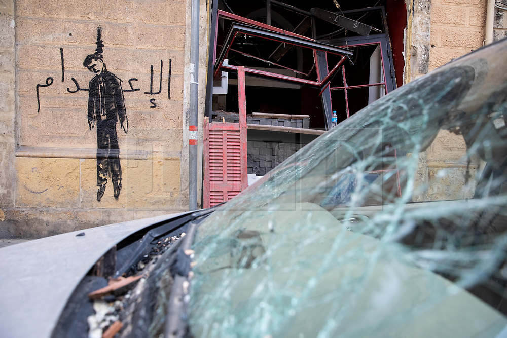 © Licensed to London News Pictures. 10/08/2020. Beirut, Lebanon. Graffiti in  Beirut city centre following an explosion in Beirut port on Tuesday 4 August. Photo credit : Tom Nicholson/LNP