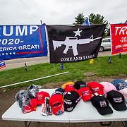 Pop-up stand of Trump merchandise, rural northeast Ohio, September 2020.