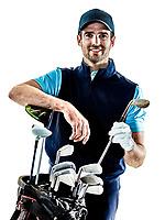 one caucasian man golfer golfing in studio isolated on white background