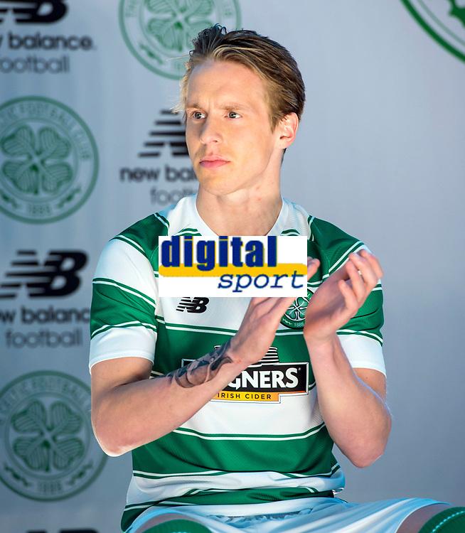 04/05/15   <br /> CELTIC PARK - GLASGOW <br /> Celtic's Stefan Johansen unveils his side's new home kit from New Balance for the 2015/2016 Season.