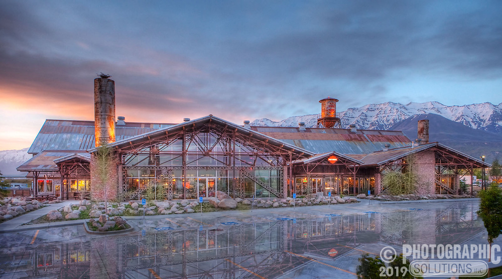 Evening shot of Timpanogos Harley Davidson, which was built with re-purposed materials from the old Geneva Steel Plant that used to be across the road.