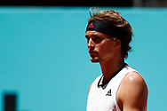 Alexander Zverev of Germany in action during his Men's Singles match, round of 32, against Kei Nishikori of Japan on the Mutua Madrid Open 2021, Masters 1000 tennis tournament on May 5, 2021 at La Caja Magica in Madrid, Spain - Photo Oscar J Barroso / Spain ProSportsImages / DPPI / ProSportsImages / DPPI