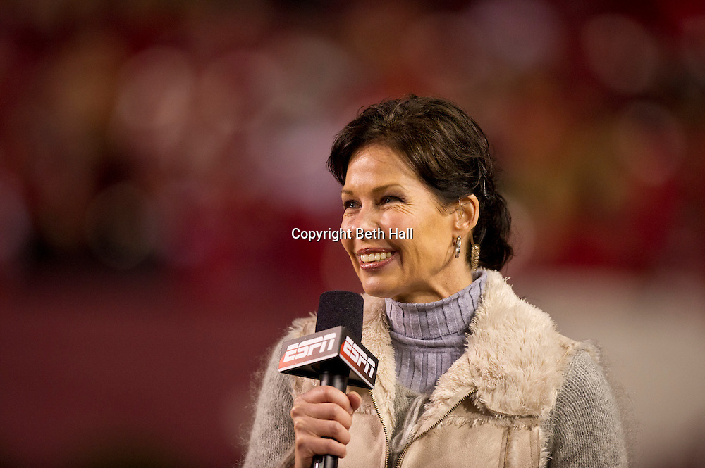 Nov 12, 2011; Fayetteville, AR, USA;  ESPN announcer Jeannine Edwards on the sidelines of a game between the Tennessee Volunteers and Arkansas Razorbacks at Donald W. Reynolds Razorback Stadium. Arkansas defeated Tennessee 49-7. Mandatory Credit: Beth Hall-US PRESSWIRE