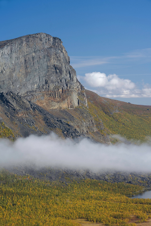 First rays of morning sun on Skierffe mountain, Sarek National Park, Laponia World Heritage Site, Sweden