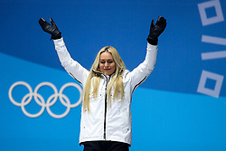PYEONGCHANG-GUN, SOUTH KOREA - FEBRUARY 21: Bronze medallist Lindsey Vonn of the United States celebrates during the medal ceremony for the Ladies' Downhill on day twelve of the PyeongChang 2018 Winter Olympic Games at Medal Plaza on February 21, 2018 in Pyeongchang-gun, South Korea. Photo by Kim Jong-man / Sportida