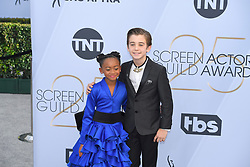 January 27, 2019 - Los Angeles, California, U.S - FAITHE HERMAN AND PARKER BATES during silver carpet arrivals for the 25th Annual Screen Actors Guild Awards, held at The Shrine Expo Hall. (Credit Image: © Kevin Sullivan via ZUMA Wire)