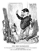 """Still More Fraternisation. Mr Punch (preparing for a trip to Salzburg, after learning that all Austrian Nazis are compelled to grow Hitler moustaches) - """"And I do hope they won't notice the nose."""""""