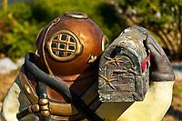 A copper diving helmet mailbox, Florida Keys History of Diving Museum, Islamorada Key, Florida Keys, Florida USA