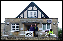 Leader of the Conservative Party David Cameron and his wife Samantha leave the Polling Station at the  Memorial hall in Spelsbury, Oxfordshire, after voting for the general election, Thursday May 6, 2010.  Photo By Andrew Parsons / i-Images.