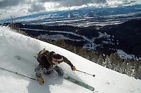 Skiing on Mount Glory, Teton Pass backcountry, Wyoming.