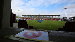 Peterborough United players inspect the pitch after arriving at Northampton Town - Mandatory by-line: Joe Dent/JMP - 10/10/2020 - FOOTBALL - PTS Academy Stadium - Northampton, England - Northampton Town v Peterborough United - Sky Bet League One