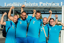 Jurij Koderman, Peter Rankovic Miha Zupan, Matic Makuc and Lukas Mord of Slovenian deaf team before departure to 23rd Summer Deaflympics in Samsun, Turkey, on July 14, 2017 at Airport Joze Pucnik, Brnik, Slovenia. Photo by Vid Ponikvar / Sportida