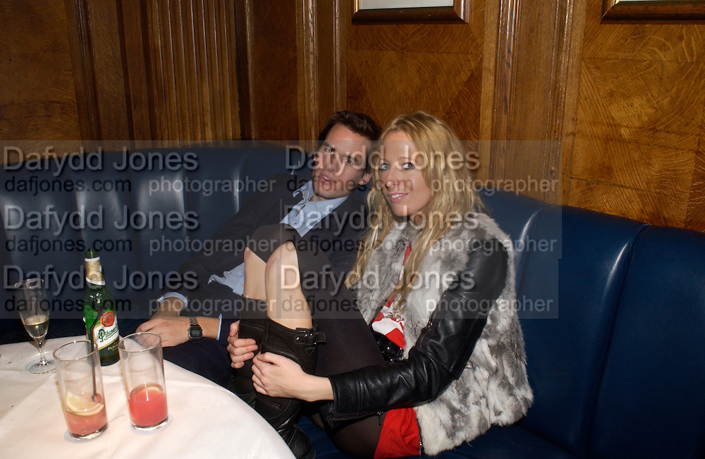 Raol Fraser and Sophia Hesketh, Tatler magazine Little Black Book party, Tramp. Jermyn St. 10 November 2004. ONE TIME USE ONLY - DO NOT ARCHIVE  © Copyright Photograph by Dafydd Jones 66 Stockwell Park Rd. London SW9 0DA Tel 020 7733 0108 www.dafjones.com
