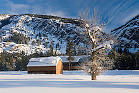 Snow covered barns in the upper Methow Valley Washington USA