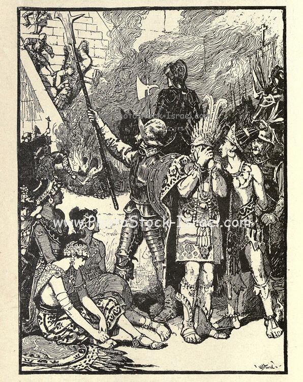 Illustrating the story ' The Conquest of Montezuma's Empire ' From the book ' The true story book ' Edited by ANDREW LANG illustrated by L. BOGLE, LUCIEN DAVIS, H. J. FORD, C. H. M. KERR, and LANCELOT SPEED. Published by Longmans, Green, and Co. London and New York in 1893