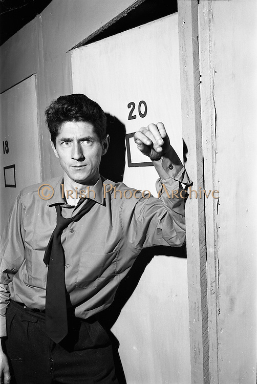 Theatre Festival rehearsal at the Gate Theatre, Dublin on the 25th of September 1962. Picture shows actor Charley Roberts as Brendan Behan.