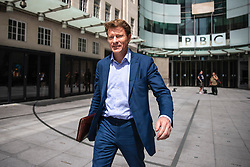 © Licensed to London News Pictures. 02/06/2019. London, UK. Chairman of The Brexit Party Richard Tice leaves BBC Broadcasting House after appearing on The Andrew Marr Show. Photo credit: Rob Pinney/LNP