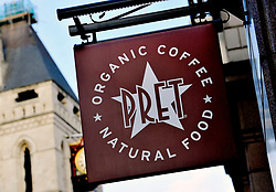"File photo dated 27/02/15 of a Pret A Manger sign, as the sandwich chain introduced a 50p discount on hot drinks for customers who use reusable cups in an effort to ""help change habits""."