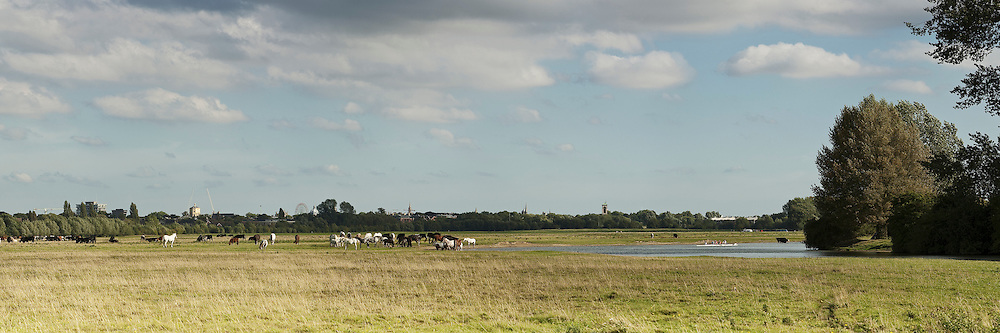 Panoramic view of Port Meadow and River Thames in Oxford, Uk