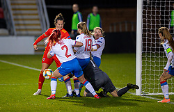 NEWPORT, WALES - Thursday, October 22, 2020: Wales' Georgia Walters is denied by four Faroe Islands players during the UEFA Women's Euro 2022 England Qualifying Round Group C match between Wales Women and Faroe Islands Women at Rodney Parade. Wales won 4-0. (Pic by David Rawcliffe/Propaganda)