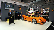 Lamborghini Stand.2011 Australian International Motorshow (AIMS).Melbourne Convention and Exhibition Centre.Southbank, Melbourne.1st of July 2011.(C) Joel Strickland Photographics.Use information: This image is intended for Editorial use only (e.g. news or commentary, print or electronic). Any commercial or promotional use requires additional clearance.