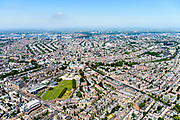 Nederland, Noord-Holland, Amsterdam, 29-06-2018; Amsterdam-Zuid, Museumkwartier. Met aan het Museumplein Concert Gebouw, Rijksmuseum, Van Goghmuseum, Stedelijk Museum.  Zicht op Grachtengordel.<br /> Museum quarter.<br /> View of the old town, w belt of canals.<br /> luchtfoto (toeslag op standard tarieven);<br /> aerial photo (additional fee required);<br /> copyright foto/photo Siebe Swart