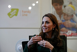 The Duchess of Cambridge meets with families, young carers and the volunteers at FamilyLine during a visit to Family Action charity's Lewisham base in Forest Hill, Lewisham, London.